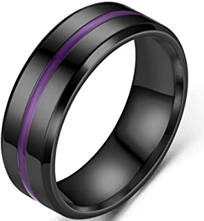 Jude Jewelers 8mm Stainless Steel Matte Black Grooved Classic Wedding Band Ring