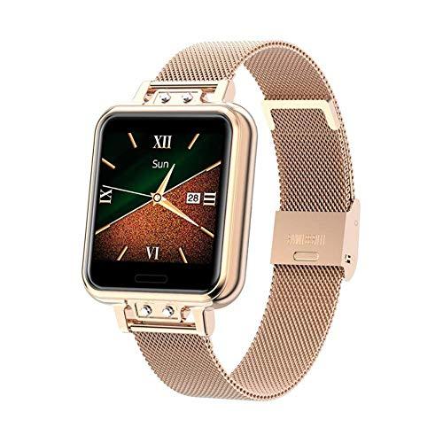 JIAJBG Relojes Inteligentes Zl13 de Punto para Mujeres, Exhibición 1.22Inch, Ip68 a Prueba de Agua con Monitor de Ritmo Cardíaco Deportes Rastreador de Ejercicios, para Ios, Android