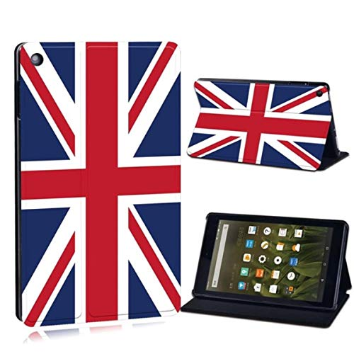 for Amazon Fire 7 5/7/9th,2015 2017 2019/ Fire HD 8/10 Printed Flag Leather Tablet Stand Folio Shockproof Stand Cover Case,18.British Flag,Fire HD 8