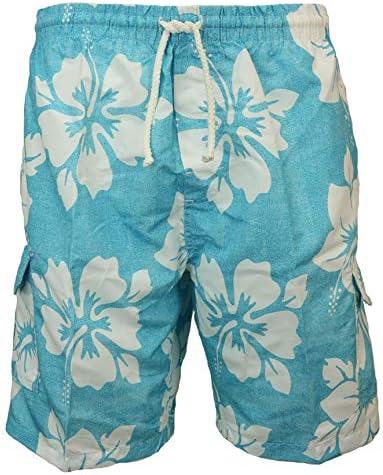 SURF AVE Men's Classic Long Swim Trunks Bathing Suit, Surfer Hibiscus, No Grommets