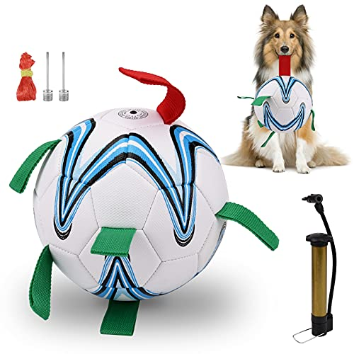 FANTESI Hund Fußball, Haustier Wasserspielzeug Hundespielzeug mit Greiflaschen Interaktiver Schwimmender Ball für kleine und mittlere Hund mit Ballpumpe und Nadel