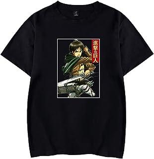 EMLAI Men's Attack on Titan T-Shirt Anime Recon Corps Unisex Crewneck Plain Shirt Tops