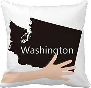cold master DIY lab Washington The United States Map Hand Throw Pillow Square Cover 50cm x 50cm Multicolor