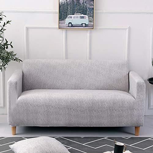 Carvapet Elastischer Sofabezug Sofaüberwurf Antirutsch Couch überwurf Stretch Elastische Stoff Gedrucktes Muster Sofahusse Sofa Abdeckung Hussen überwurf für Sofa (Grau, 2 Sitzer)