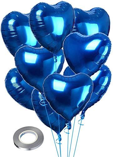 CozofLuv 25 Pezzi Palloncini Amore per Matrimonio Cerimonia Eventi Anniversario Palloncini di stagnola Metallizzata Palloncini di elioa (Blu)