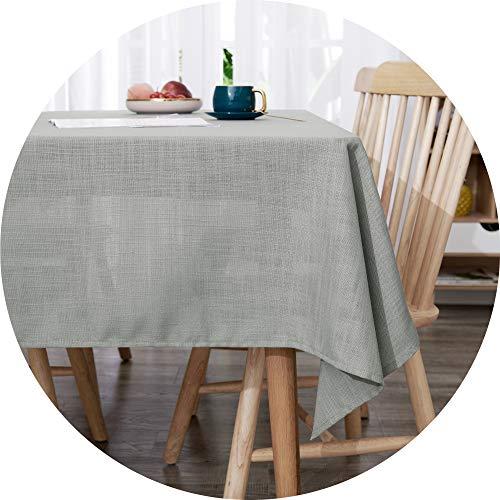 Deconovo Mantel Mesa Rectangular Decorativo Impermeable Manteles Cocina 140 x 200 cm Gris