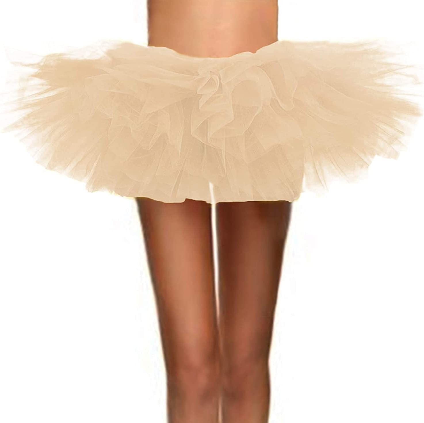 Women's Classic Adult Stretch Mini Short Tulle Tulle Skirt 80s (Color : Mini-Champagne, Size : Small)