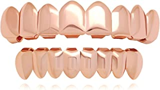 Best 8 Teeth Grillz 14k Gold Top and Bottom Grills Set Shiny Hip Hop Teeth Grillz + Extra Molding Bars Review