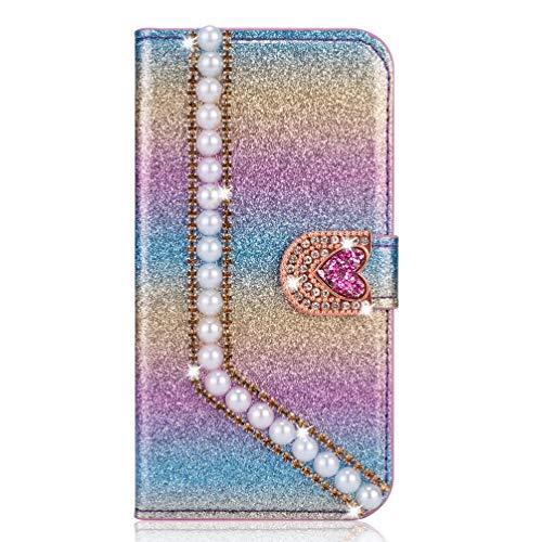 Miagon Hülle Glitzer für Samsung Galaxy A9 2018,Luxus Diamant Strass Perle Herz PU Leder Handyhülle Ständer Funktion Schutzhülle Brieftasche Cover,Regenbogen Blau