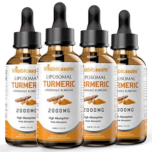Liposomales Curcumin Kurkuma Saft 2000MG   Hochdosiertes Kurkuma-Extrakt 95% & Schwarzer Pfeffer & Curcumin   Natürliches Antioxidans   Glutenfrei   Non GMO   100% Vegane   Packung mit 4