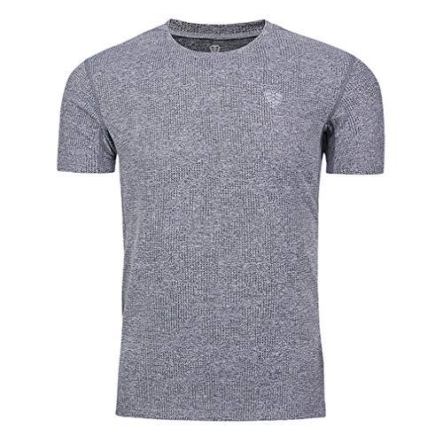 emansmoer Homme Summer Mesh Training Basketball T-Shirt Short Sleeve Running Casual Tee Shirt Cycling Fitness Sportswear(L, Grey)
