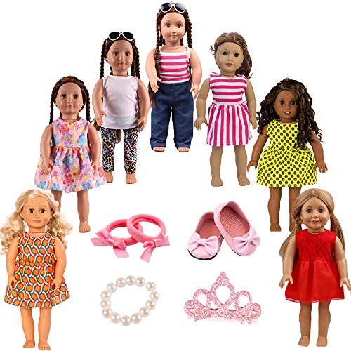 7pcs Doll Clothes 1Shoes 1Bracelet 1Crown hair clip 1Hair ring for 18'Dolls American Girl Dolls
