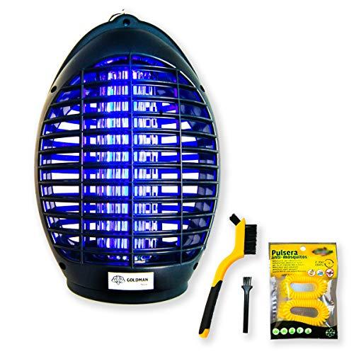 Mata Mosquitos eléctrico LED UV lámpara repelente anti mosquitos moscas insectos para hogar cocina dormitorio balcón oficina área 40m2 interior set + 2 cepillos limpieza + 2 pulseras anti mosquitos