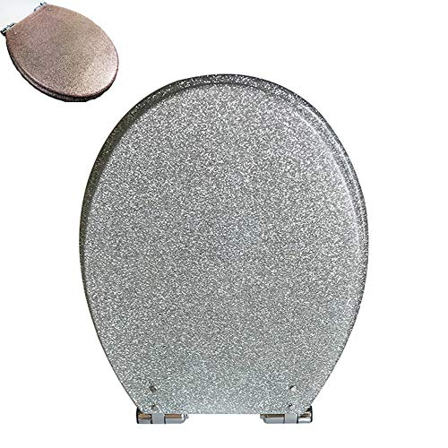 Double east Glitter Toilet Seat Slow Close Resin Silverand Gold Color,Quiet Close Toilet Seats,Easy Installation/Remove, Fit All Standard Oval-Shape