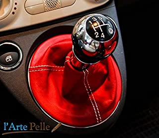 cuffia leva cambio Fiat 500 vera pelle rossa