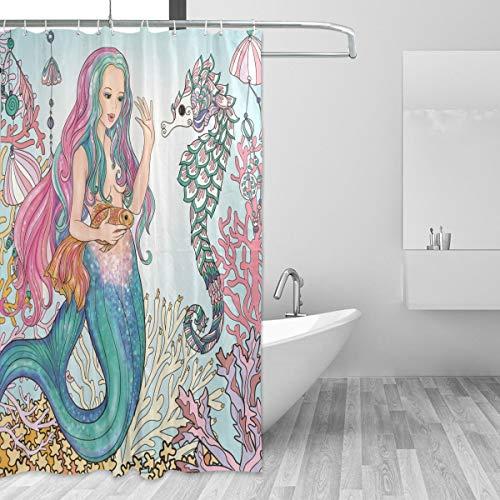 Mermaid Shower Curtain, Bathroom Backdrop Shower Mermaid Fabric Waterproof