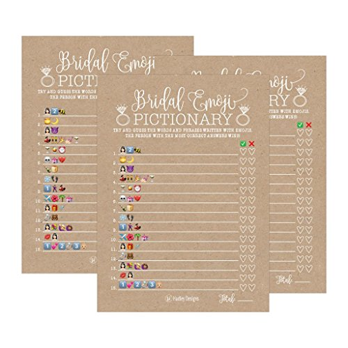 25 Rustic Emoji Pictionary Bridal Shower Games Ideas, Wedding Shower, Bachelorette or Engagement Party For Men and Women Couples, Cute Funny Kit Bundle Set, Coed Adult Game Cards For Bride to be Party