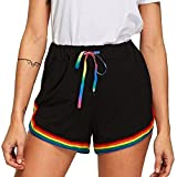 Vectry Damen Hosen Shorts Sommer Hotpants Bermudas Ultra Jeans Leggings Strand Laufgymnastik Yoga Der Sporthosen Schlafanzughosen - Rainbow Print Elastic Beach (M, Schwarz)