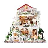 Poxl Casa de muñecas de madera, tamaño grande de 3 pisos, kit completo en miniatura, con luz LED, música para niños, juguete de regalo