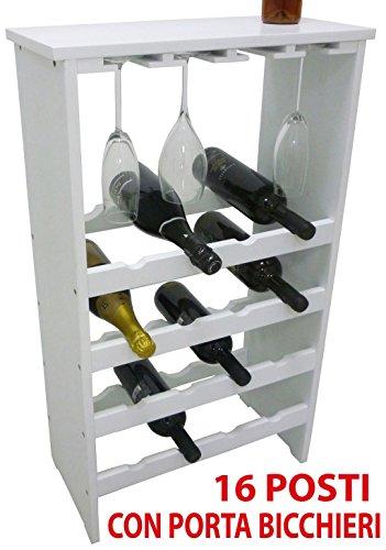 Botellero con apartados para copas, para vino, de madera, blanco, para 16botellas, con repisa, para enotecas, bodegas, salones