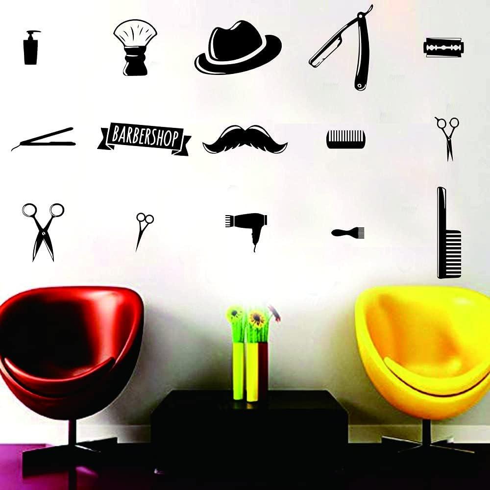 Hair Beauty Salon Barber Shop Wall Decal Art Vinyl Shaver Pin Set Decor Sticker Haircut Hairdressing Tools Removable Wall Sticker (BLACK-JWH103)