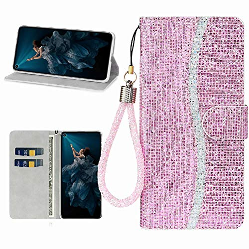 Miagon Glitzer Handyhülle für Samsung Galaxy S20 Ultra,Fischschuppen Bling Brieftasche Pu Leder Klapphülle Case Glänzend Magnet Cover mit Tasche und Handschlaufe,Rosa