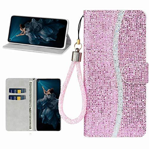 Miagon Glitzer Handyhülle für iPhone 11 Pro Max,Fischschuppen Bling Brieftasche Pu Leder Klapphülle Case Glänzend Magnet Cover mit Tasche und Handschlaufe,Rosa