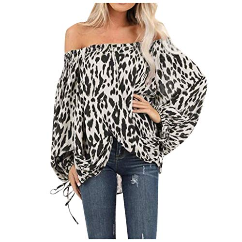 Dermanony Womens Fashion Off-Shoulder Blouses Leopard Printed Long Sleeve Front Knot Casual Top Loose T Shirt Sweatshirt White