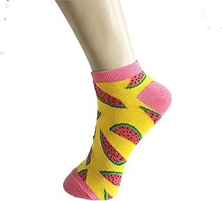 4 Pares de Dibujos Animados de Fruta, limón, sandía, Zapatos de Playa, Lindas Mujeres, Calcetines de Corte bajo, Raya, Divertidos Calcetines Invisibles de algodón Harajuku