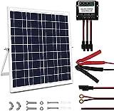Panel solar de 20 W 12 V portátil panel solar coche Trickle kit cargador de batería con controlador 5A ajustable soporte de inclinación para coche barco motocicleta tractor