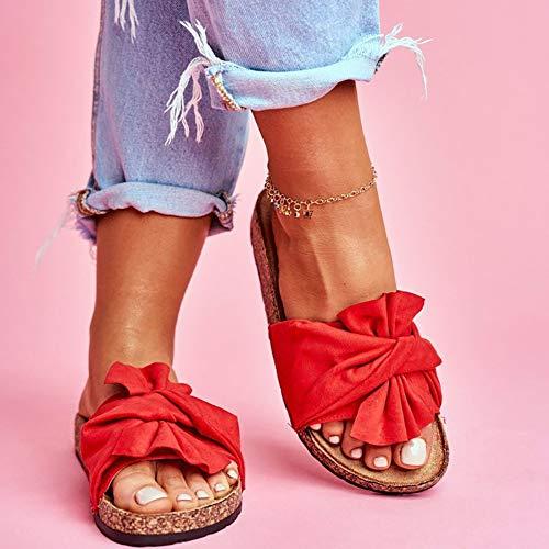 XXZ Damen Sandaletten Pantoletten mit Plateau Flat Heel Round Toe Sandalen Frauen Peep Toe Elegant Bequeme Schleife Wildleder Strandschuhe,Rot,39
