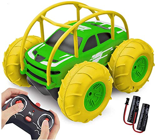Coche Teledirigido, 2.4 GHz 4WD RC Coche Anfibio Acrobacia Rotación Volteo de 360 Grados, Juguete Impermeable, con Batería Recargable, Regalo para niños (Verde)