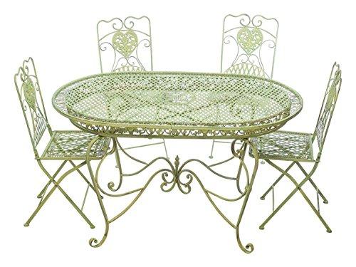 aubaho Set Tavolo da Giardino 4 sedie da Giardino in Ferro Verde Sedia mobili in Stile