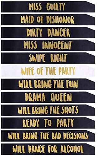 Gemich New 12 Pack Bride/Bridesmaids,Team Bride sash,Bachelorette sash Set for Bridesmaids,Maid of Honor, Bridal Shower and Hen Party Decorations, Favors,Accessories and Supplies