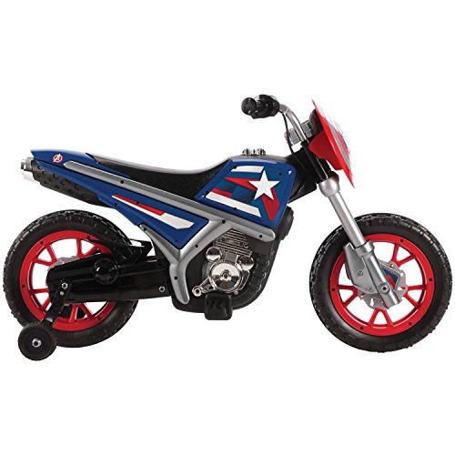 Huffy Marvel Captain America 6V Battery Powered Kids Electric Ride on Motorcycle Toys, Blue with Training Wheels