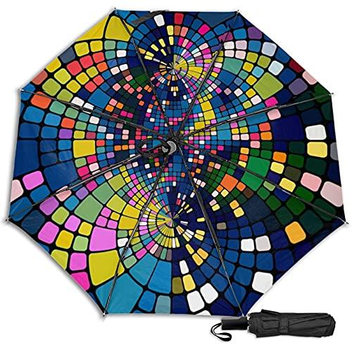 Pengfly 3d Color Block 3d Color Cuadrado Paraguas Patrón Plegable 3d Color Cuadrado Paraguas Cuadrado Sombrilla Durable Resistente a la corrosión Para la lluvia al aire libre