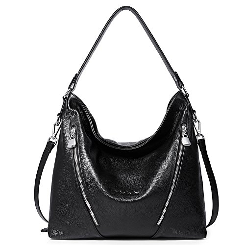 "High Quality -- The shoulder hobo bag is made of genuine cow leather by professional artisans. Durable fabric lining with custom silver hardware that make the handbag more luxury, generous and elegant. Dimensions -- (L)12.9"" x (W)4.3"" x (H)12.6"", han..."