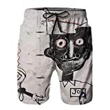 Shichangwei Swim Boardshort Hombre Jean Michel Basquiat Eyes And Eggs Beach Shorts Men's Summer Casual Quick Dry Surfing Pants with Pockets As Picture XL