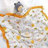 Wuudi Coperta per bambini in mussola 120 x 150 cm, morbida coperta a 6 strati di morbido cotone cartoni animati, coperta avvolgente per passeggino seggiolino bambino, come coperta Swaddle