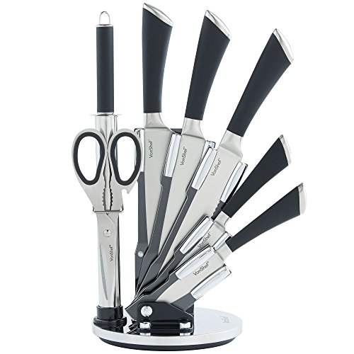 VonShef Premium 7 Piece Professional Stainless Steel Knife Set with Soft Grip Handles includes Revolving Block