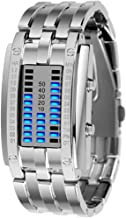 Trend Coolest Couple Girl Woman Man Boy Student LED Binary Electronic Watch Outdoor Sports Waterproof 3ATM Gift Box Luminous Date (Color : Silver, Size : S)