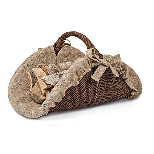 Cesta para leña, Cesta de mimbre, cesta de madera, leña (mimbre,, 60x 43x 32cm
