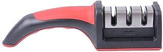 مسن سكاكين الشيف 3 مراحل مطلي بالسيراميك الماسي من جولي (أحمر)
