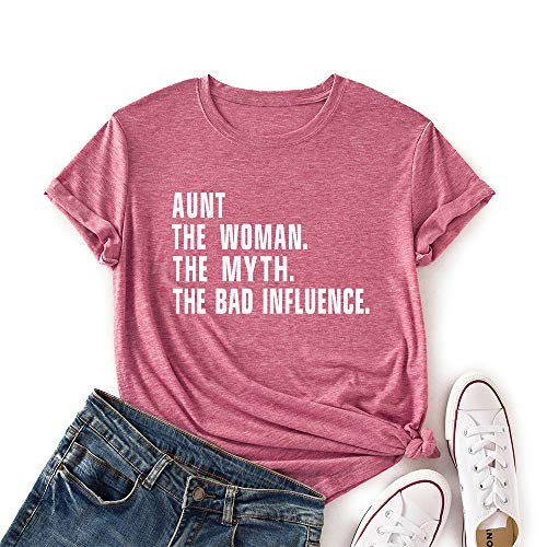 Women Aunt The Women The Myth The Bad Influence T-Shirt Casual Tee Shirt Short Sleeve Top Shirt(Pink Small)
