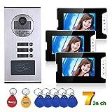 HBHYQ 7-Zoll-3 Apartment/Family Video-Türsprechanlage Intercom-System RFID IR-Cut HD 1000TVL Kamera...