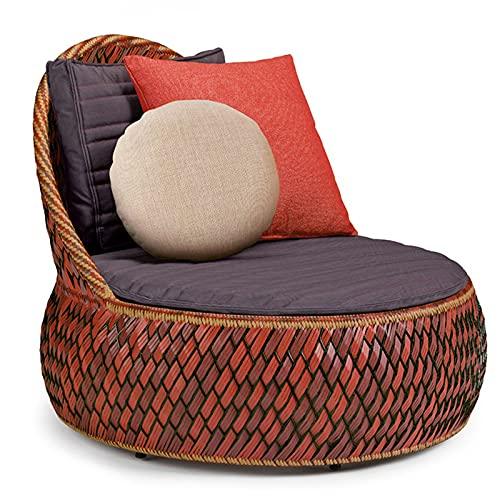 YTO Sofá de Cama de ratán de Ocio Simple nórdico, Cama reclinable al Aire Libre Cama Redonda Grande Piscina sofá Perezoso en la azotea(Color:Red)