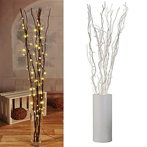 Lichterzweige mit 60 LEDs silber Beleuchtung Lichterkette Leuchtzweig Dekoration Lichter Zweig