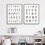 PGMZQHGF Árabe Islámico Arte de la Pared Pintura en Lienzo Alfabeto árabe Alfanumérico Impresión de póster Guardería Habitación de los niños Arte de la Pared Decoración   40x50cmx2 Sin Marco