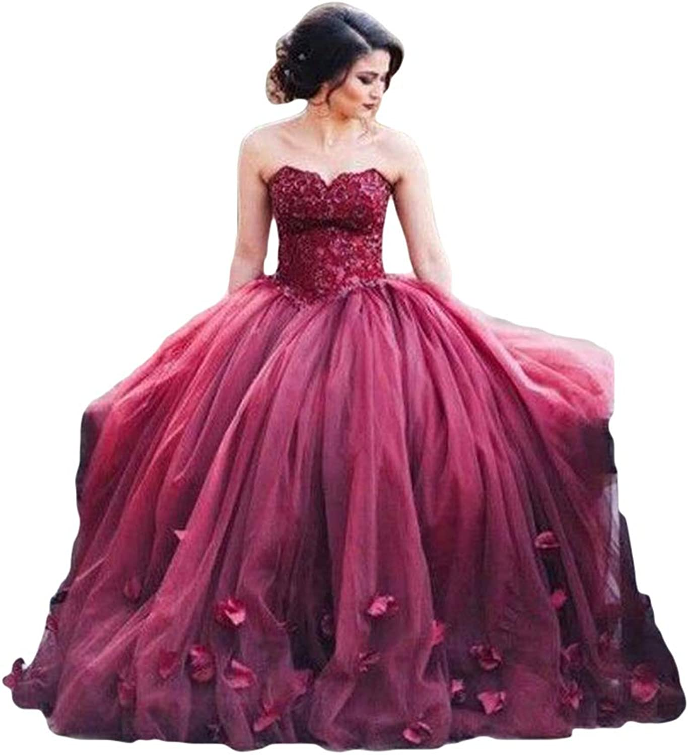 Liyuke Ball Gown Prom Dress Sweetheart Lace Evening Gowns Sweet 16 Dresses