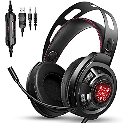 ONIKUMA Gaming Headset - Gaming Headphones Noise Cancelling Over-Ear PS4 Headset with Mic, Stereo Bass Surround & LED Light for for Gamecube, PS4, Xbox One, PC, Mac(Adapter not included)